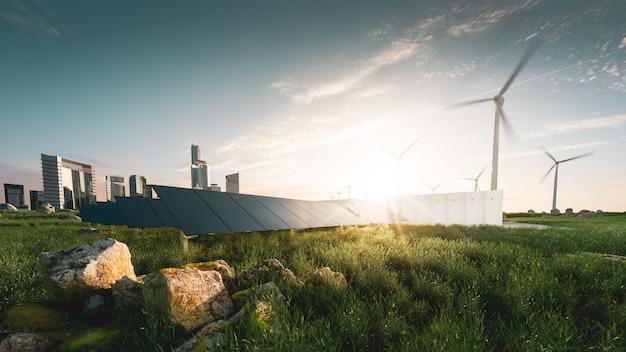 Beautifull 일몰 백라이트에서 지속 가능한 에너지 솔루션의 개념. 프레임이 없는 태양 전지 패널, 배터리 에너지 저장 시설, 풍력 터빈 및 고층 건물이 배경에 있는 대도시. 3d 렌더링.
