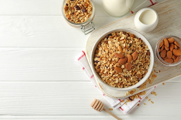Концепция вкусного завтрака с мюсли