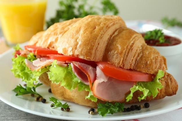크로 샌드위치와 함께 맛있는 식사의 개념을 닫습니다.
