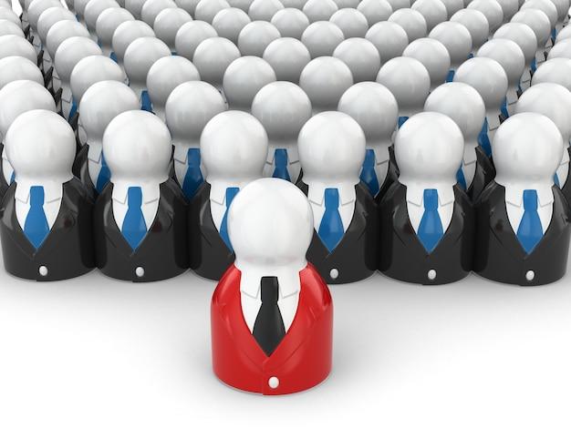 チームリーダーの概念。白い背景の上の人々。 3d