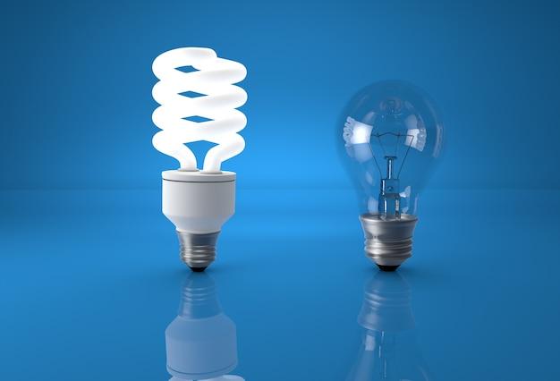 技術進化のコンセプト。従来の白熱電球に比べてエコ省エネ電球です。