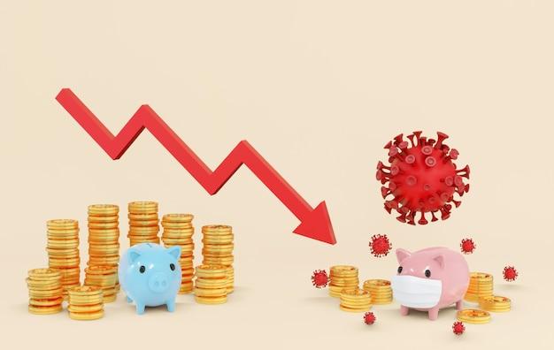 経済に影響を及ぼしているコロナウイルスの概念であるcovid-19は、フェイスマスクを身に着けているピンクのブタがウイルスに攻撃されており、世界的な金融危機に向けて資金と矢を下げています-3dレンダリング。