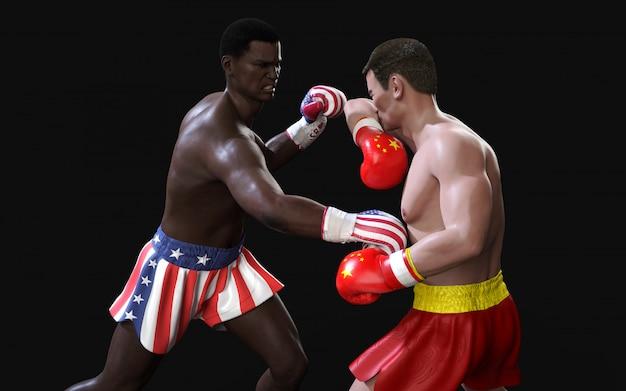 Концепция торговой войны между сша и китаем. 3d боксер иллюстрации 2 воюя удары флага сша и китая торговые для концепции: торговая война.