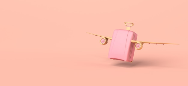 旅行の概念。飛行機の翼が離陸するスーツケース。 3dイラスト。バナー。スペースをコピーします。
