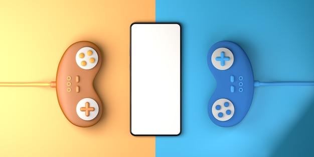 게임 패드 및 스마트폰 게임 게이머 복사 공간을 사용한 비디오 게임 경쟁의 개념