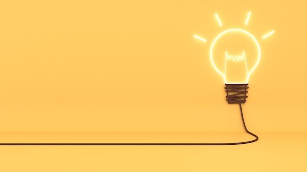 시각화의 개념은 지혜와 창의성을 가져옵니다. 노란색 배경에 창의적 사고 이미지