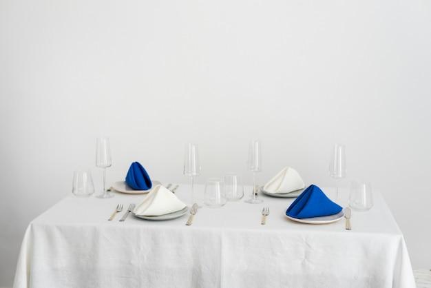 린넨 냅킨, 선택적 초점 이미지와 웨딩 장식의 개념