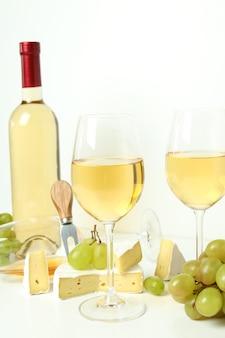 白地に白ワインの試飲の概念