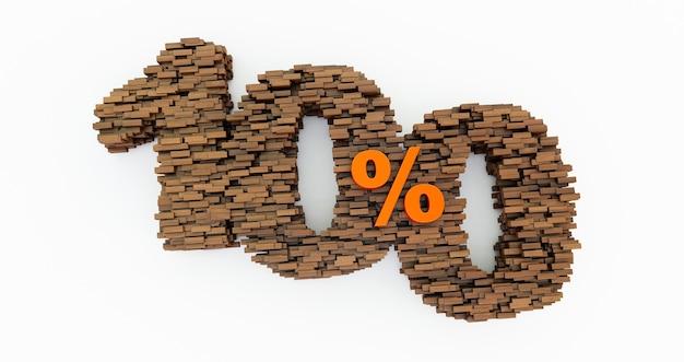 Концепция деревянных кирпичей, которые формируют скидку 100%, рекламный символ, деревянные 100% на белом фоне. сто. 3d визуализация