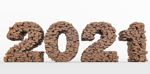2021 년 새해 복 많이 받으세요 2021 년을 형성하기 위해 쌓이는 나무 벽돌의 개념. 3d 렌더링