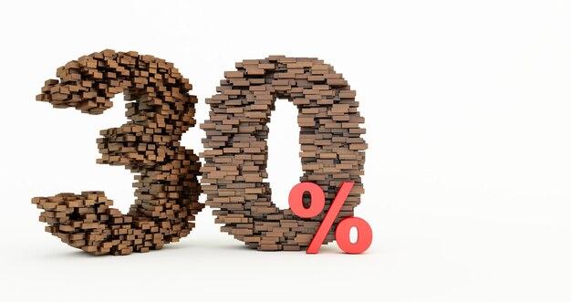 Концепция деревянных кирпичей, которые образуют скидку 30%, рекламный символ, деревянные 30% на белом фоне.