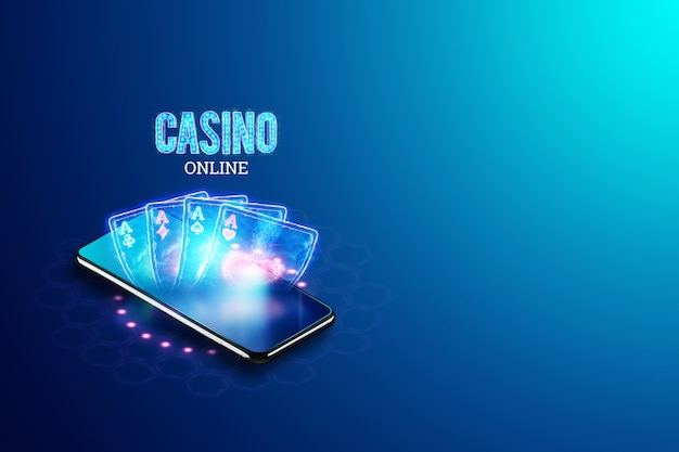 Concept for online casino, gambling, online money games, bets. smartphone and neon casino sign, roulette, and dice. site header, flyer, poster, template for advertising. 3d illustration, 3d render.