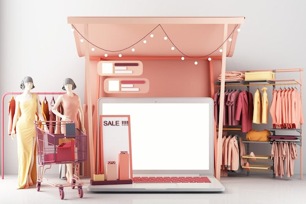 The concept of online women shopping clothes on social media app. 3d laptop screen with shopping bag, chat message, shopping cart on pink pastel color 3d rendering Premium Photo