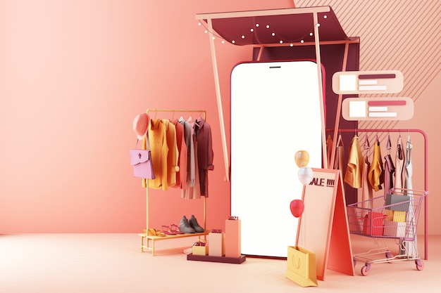 The concept of online women shopping clothes on social media app. 3d smartphone screen with shopping bag, chat message, shopping cart on pink pastel color 3d rendering
