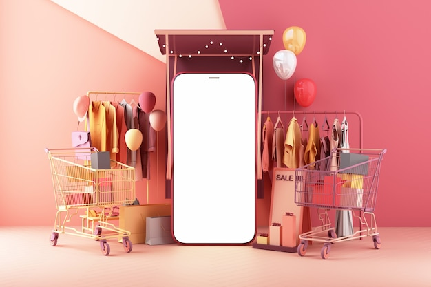 The concept of online women shopping clothes on social media app. 3d smartphone screen with shopping bag, chat message, shopping cart on pink pastel color 3d rendering Premium Photo