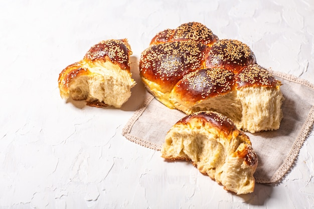 The concept of oriental cuisine. national israel festive jewish challah bread made from yeast dough with eggs