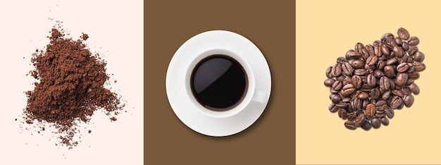 Concept pattern of a cup of black coffee, coffee beans and instant coffee on pastel backgrounds. top view. horizontal orientation