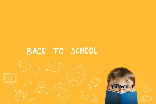 Concept pictures, back to school on a yellow background, innovation and solution concept with copy space