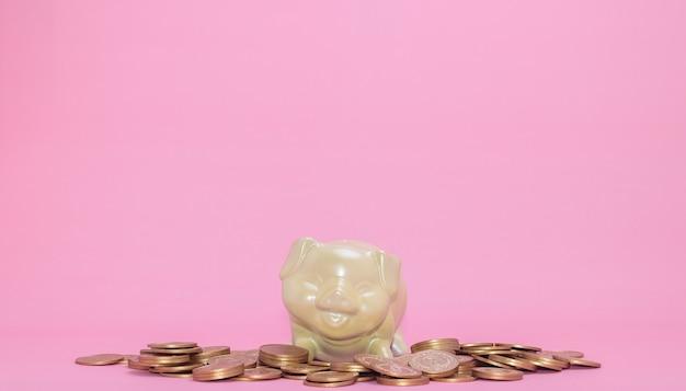 개념 돼지 저금통, 돈 절약, 투자, 주식, 재정적 성장