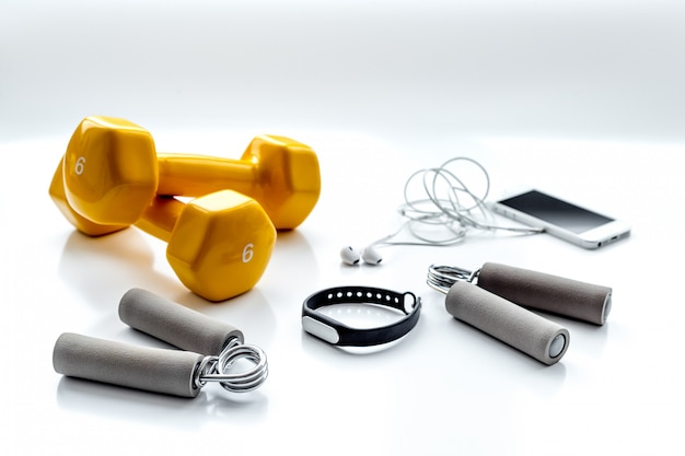 Concept preparing to fitness sports equipment