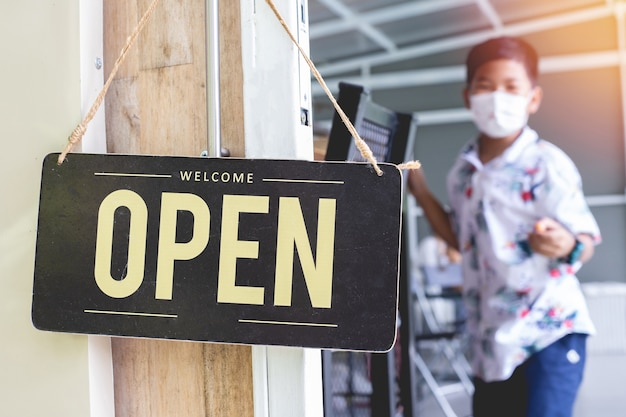 Concept of re-opening  small businesses.
