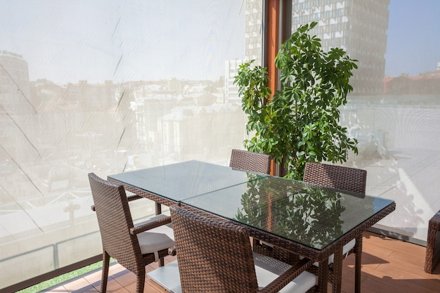 Concept of restaurant interior room on the open area with view on city ideal place for meetings