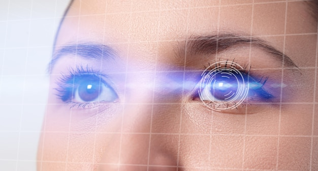 Concept of a retinal scan, augmented reality, the technology of optometry, biometrics