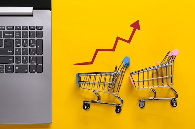 The concept of rising sales. online business. laptop, shopping trolley with growth arrow on a yellow