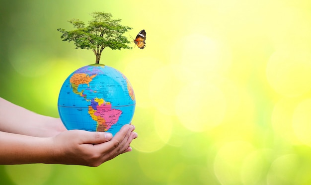 Concept save the world save environment. earth globe in hands