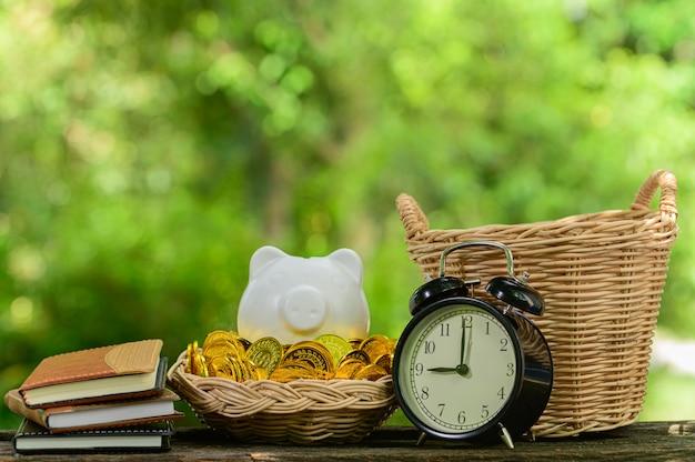 Concept of saving money green blur bokeh background