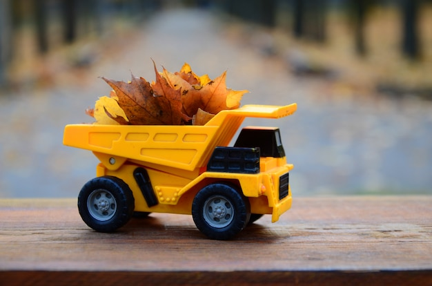 The concept of seasonal harvesting of autumn fallen leaves is depicted in the form of a toy yellow truck