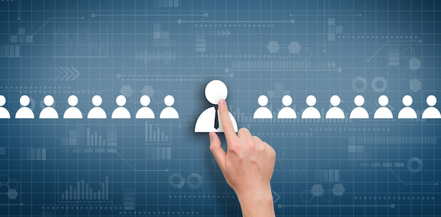The concept of selecting an employee among other candidates on an abstract digital display.