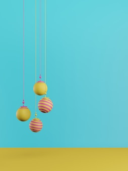 Новый год concept.set красочные рождественские шары на синем фоне.