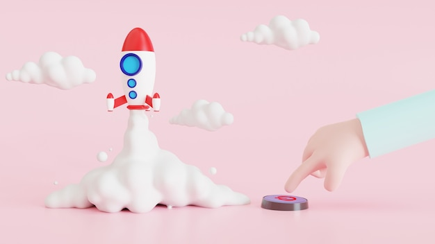 The concept started with a rocket flying off the ground with a cartoon hand pressing a button. front view, 3d illustration