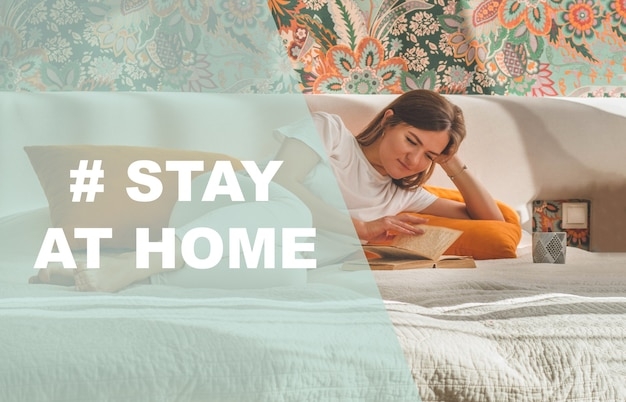 Concept stay at home social media campaign for coronavirus prevention