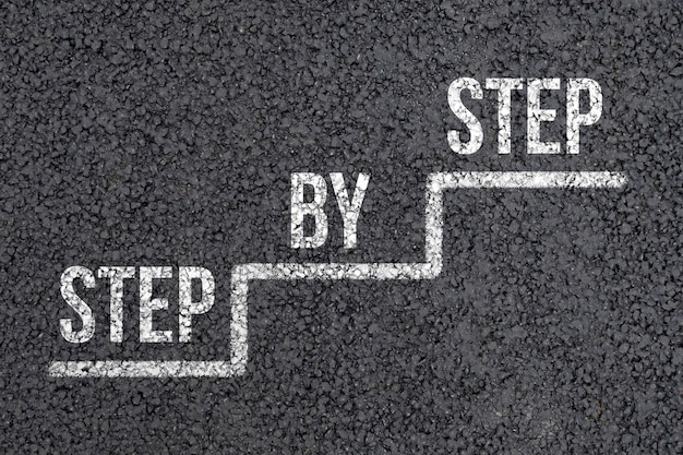 Concept step by step on an abstract staircase on the asphalt.