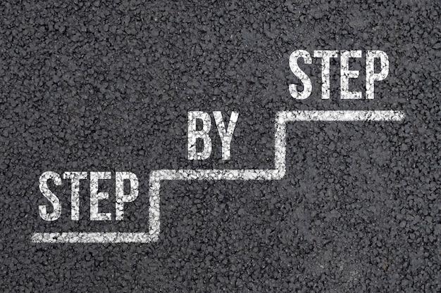 개념은 아스팔트에 추상 계단에 단계적으로.