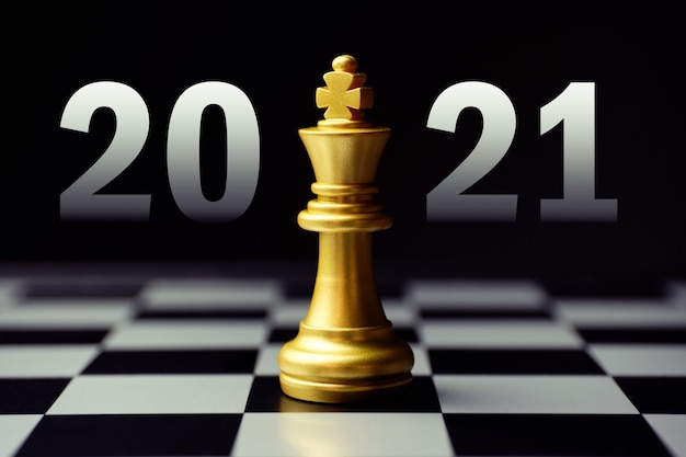Concept for strategic development in the new year 2021. king chess piece.