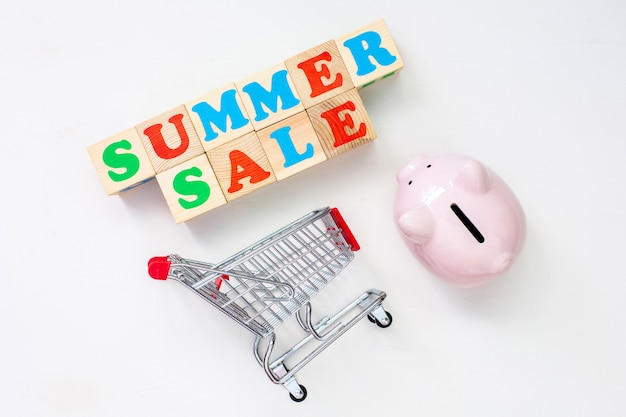 Concept summer time. seasonal sale in stores.