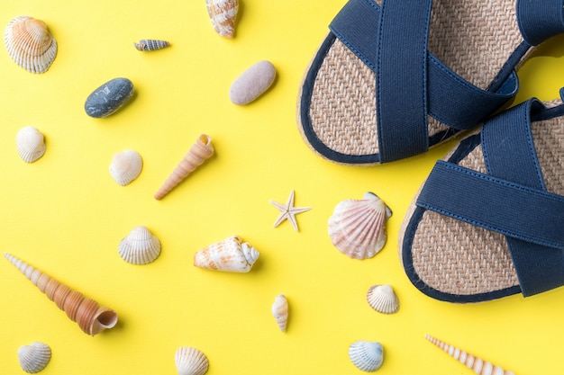 The concept of summer vacation. women's summer sandals seashells on yellow background