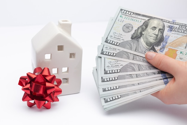 Concept of taking a bank loan to buy a house insurance to safe your property invest in apartment