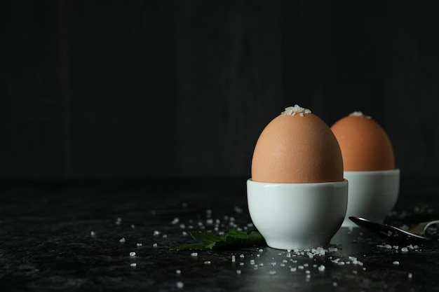Concept of tasty breakfast with boiled eggs
