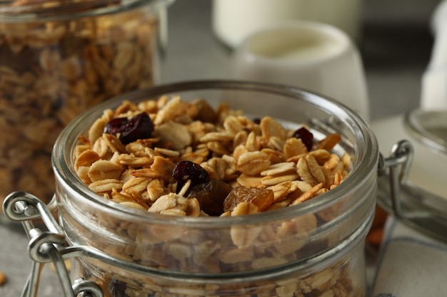Concept of tasty breakfast with granola, close up