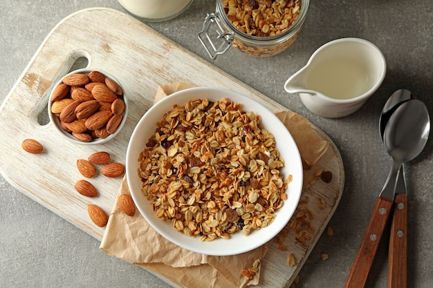 Concept of tasty breakfast with granola