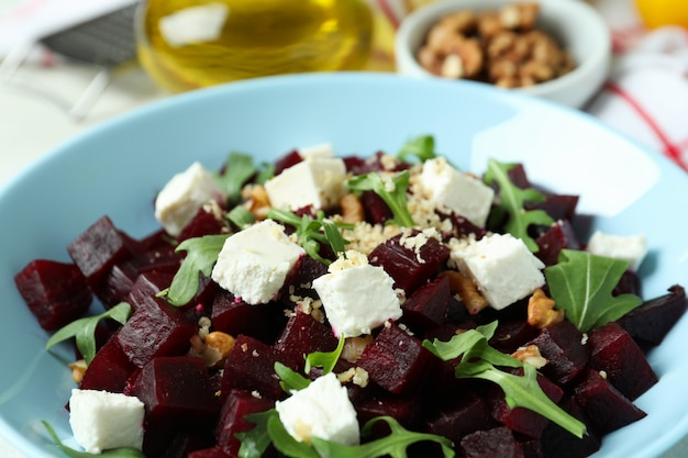 Concept of tasty eating with beet salad, close up