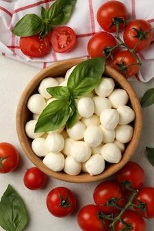 concetto di gustoso mangiare con una ciotola di mozzarella su sfondo bianco con texture