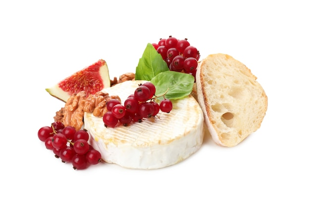 Concept of tasty food with grilled camembert isolated on white background.