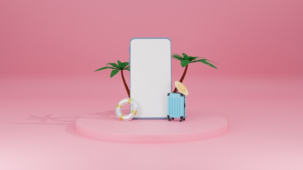 Концепция путешествия летом со смартфоном и чемоданом и пальмой на розовом пастельном фоне 3d-рендеринга
