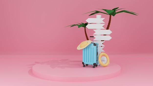 여행 가방과 푯말, 야자수 분홍색 파스텔 배경 3d 렌더링으로 여름을 여행하는 컨셉트