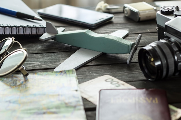 The concept of travel. top view accessories for vacation, flight.